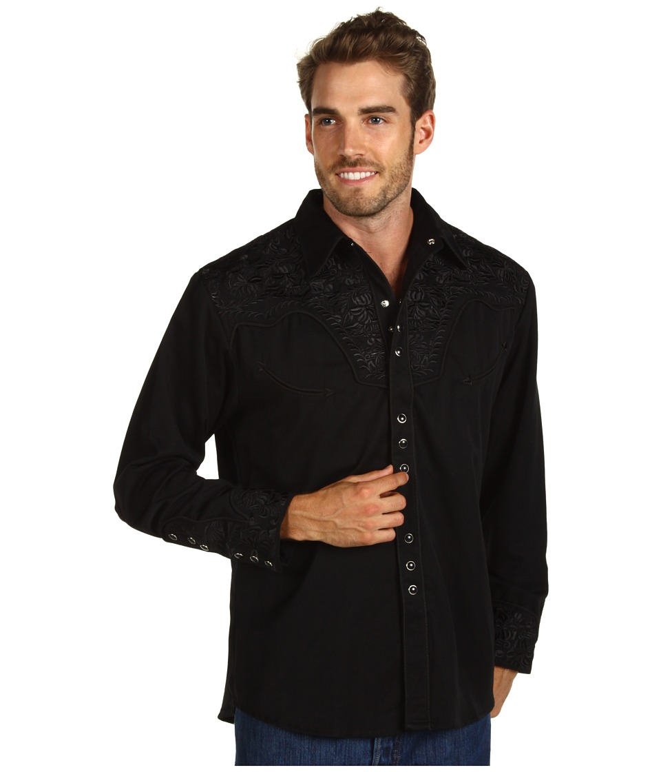 Scully - Floral Tooled Shirt (Jet) Men's Long Sleeve Button Up