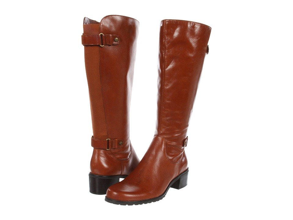 Anne Klein - Evanthe Wide Calf Riding Boot (Cognac Leather) Women's Zip Boots