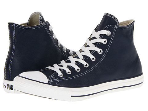 Converse - Chuck Taylor All Star Leather Hi (Navy) Classic Shoes