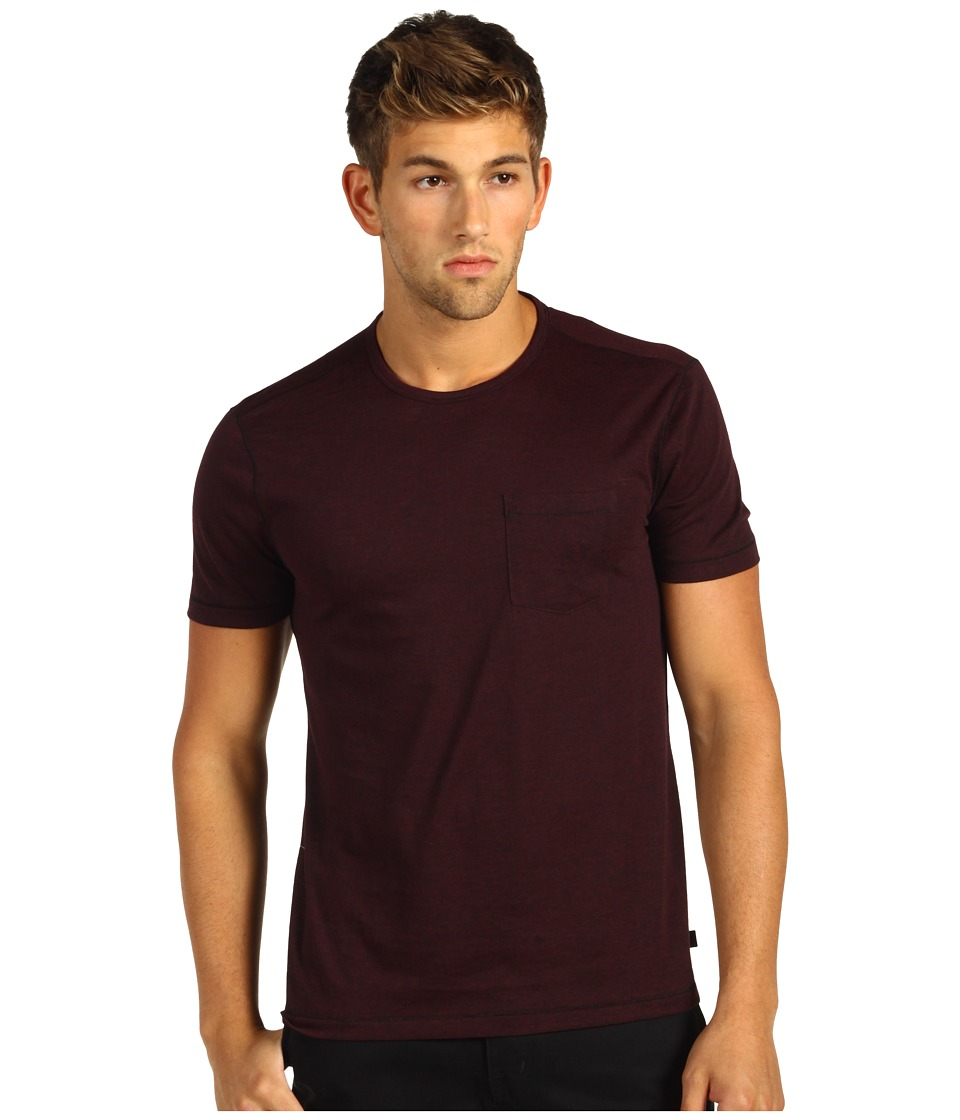 John Varvatos Star U.S.A. - Burnout S/S Crew Tee K303J4B (Oxblood) Men's Clothing