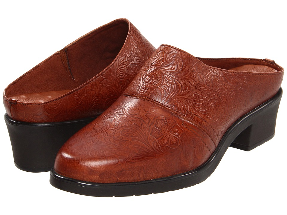 Walking Cradles - Caden (Tan Tooled Leather) Women's Clog Shoes