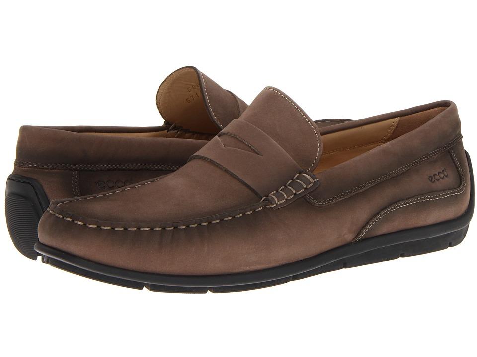 ECCO - Classic Moc Penny (Espresso Washed Nubuck) Men's Slip on Shoes