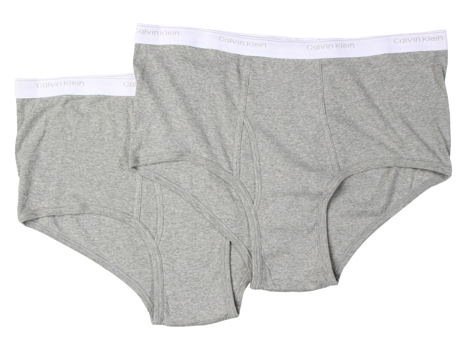 Calvin Klein Underwear - Big Tall Big Brief 2-Pack U3280 (Heather Grey) Men