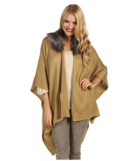 Echo Design - Fur Collar Ruana (Camel) Women