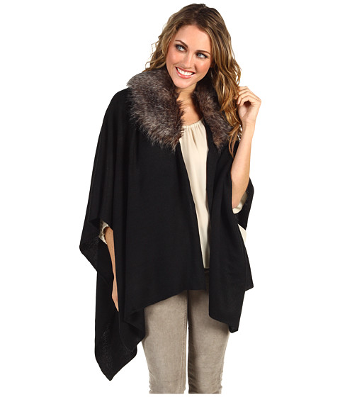 Echo Design - Fur Collar Ruana (Black) Women