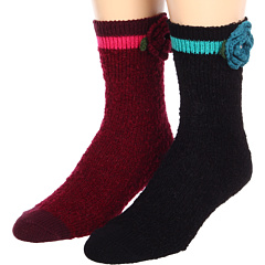 SALE! $14.99 - Save $17 on Anna Sui Boucle with Flower Detail Crew Sock (2 Pack) (Black Merlot) Footwear - 53.16% OFF $32.00