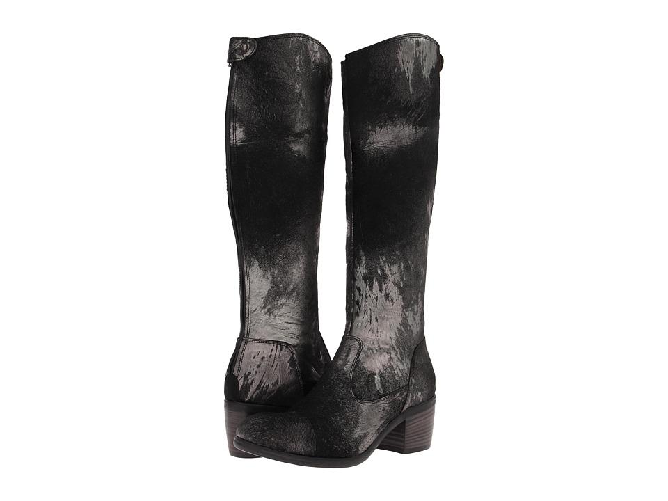 Frye - Felicity Back Zip (Black Metallic Haircalf) Cowboy Boots