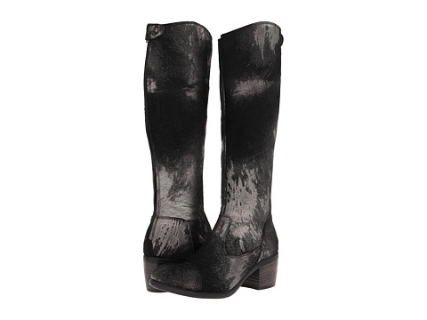 Frye - Felicity Back Zip (Black Metallic Haircalf) Cowboy Boots