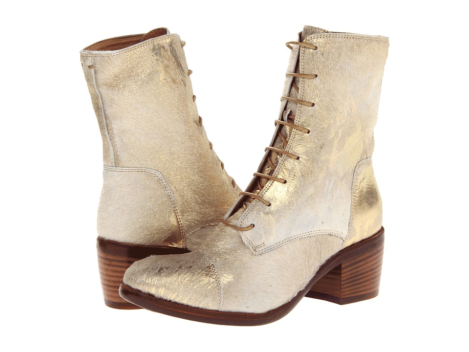 Frye - Felicity Lace Up (Gold Metallic Haircalf) Cowboy Boots