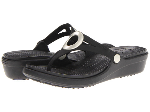 Crocs - Sanrah Wedge Flip-Flop (Black/Black) Women's Sandals