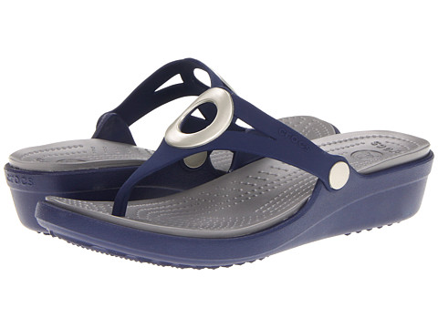 Crocs - Sanrah Wedge Flip-Flop (Nautical Navy/Smoke) Women's Sandals