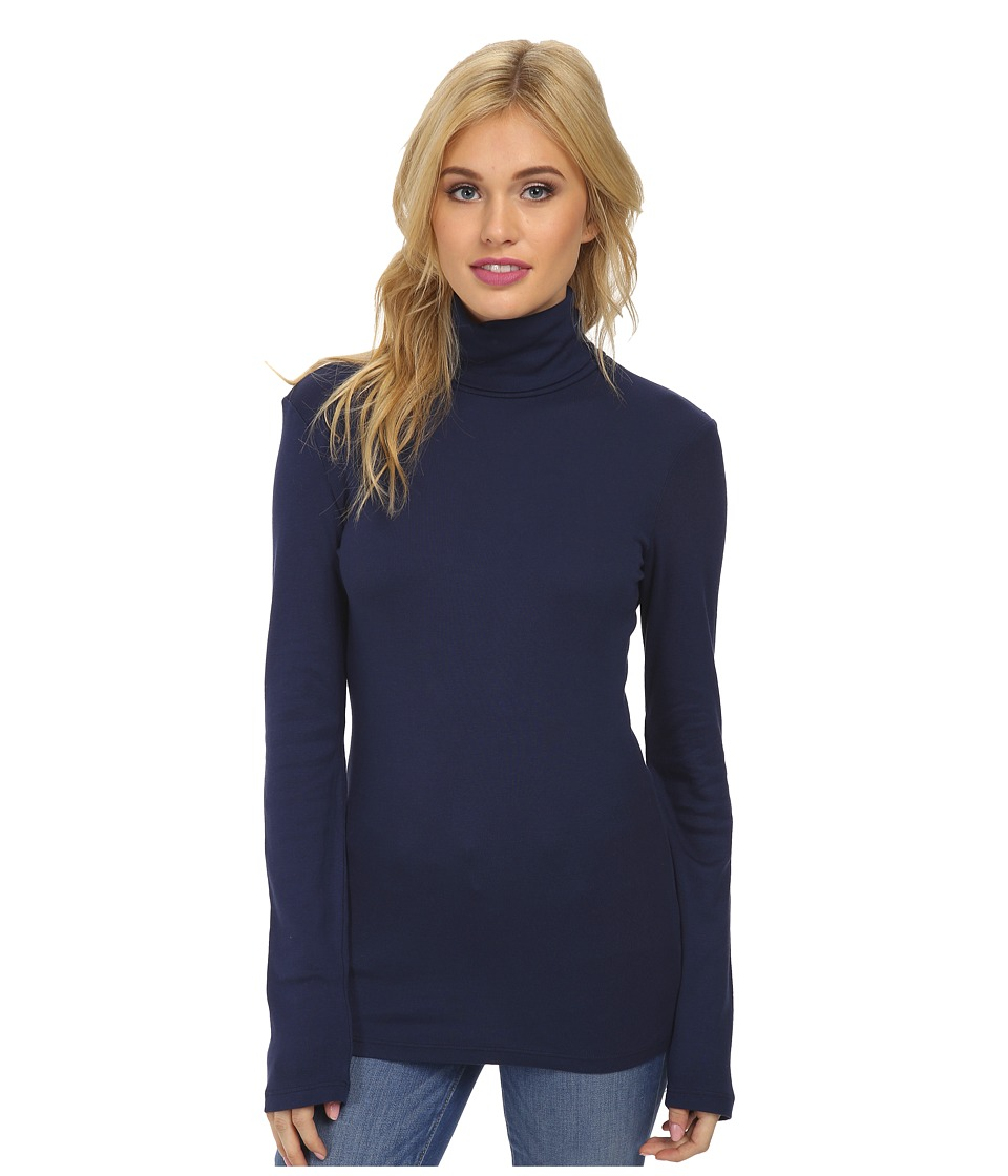 Splendid - 1x1 Long Sleeve Turtleneck (Navy) Women's Long Sleeve Pullover