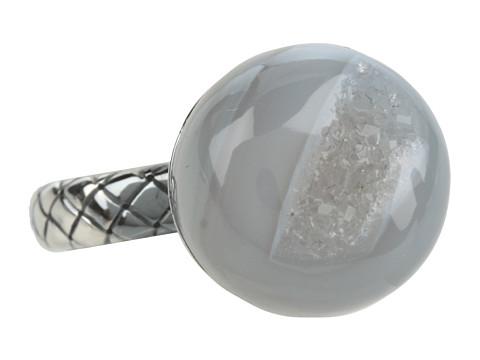 Bottega Veneta - Agata Drusa Argento Antico Luc (Naturale) Ring