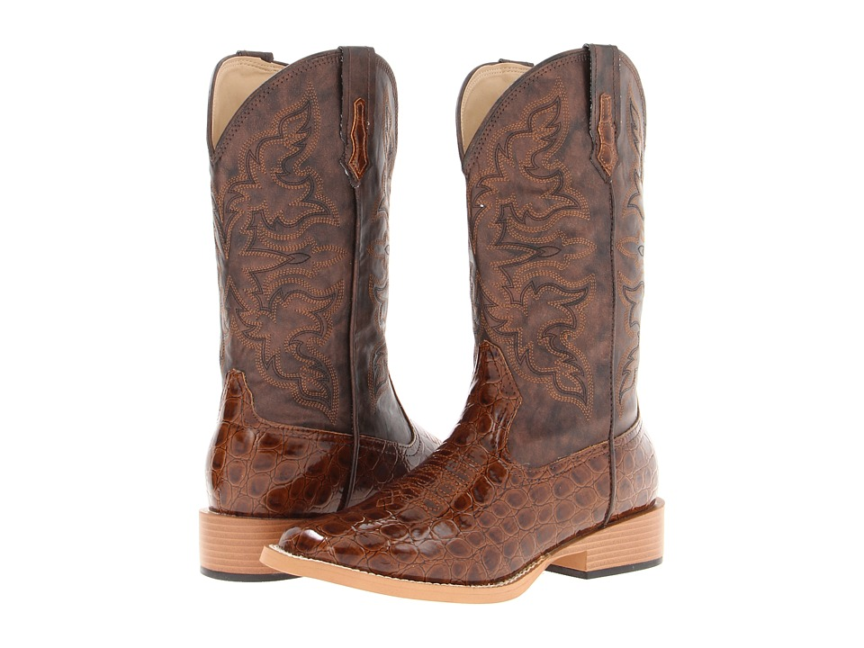 Roper - Square Toe Cowboy Boot (Tan Embossed Croco) Cowboy Boots