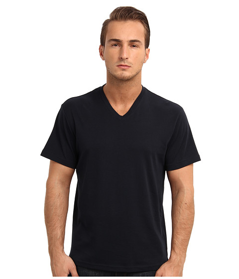 Michael Kors - Liquid Jersey V-Neck Knit Top (Navy) Men's T Shirt