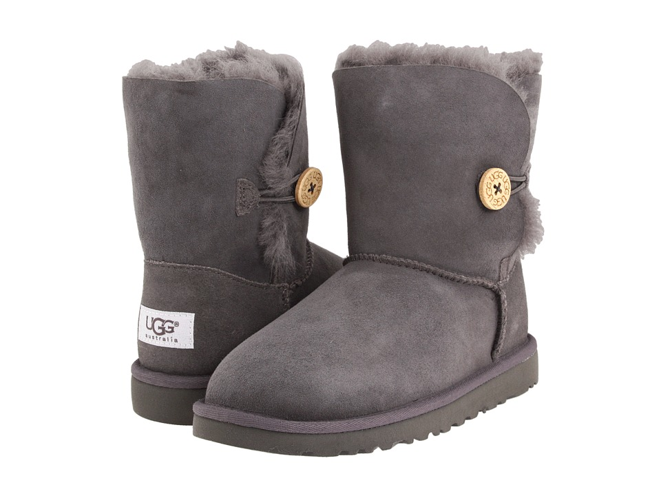 UGG Kids - Bailey Button (Big Kid 2) (Grey) Girls Shoes