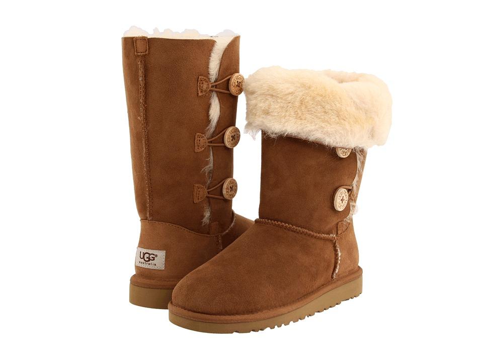 UGG Kids - Bailey Button Triplet (Big Kid 2) (Chestnut) Girls Shoes