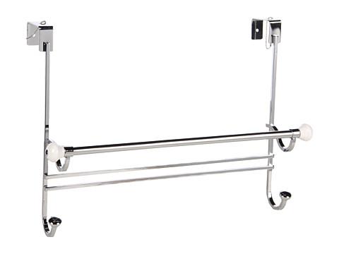 InterDesign York Over Shower Door Towel Rack (White/Chrome) Bath Towels