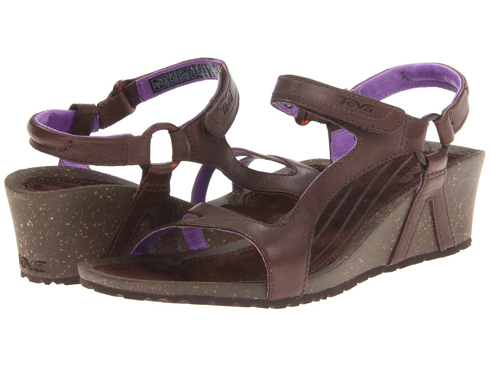 Teva - Cabrillo Universal Wedge Leather (Chocolate Brown/Purple) Women's Wedge Shoes