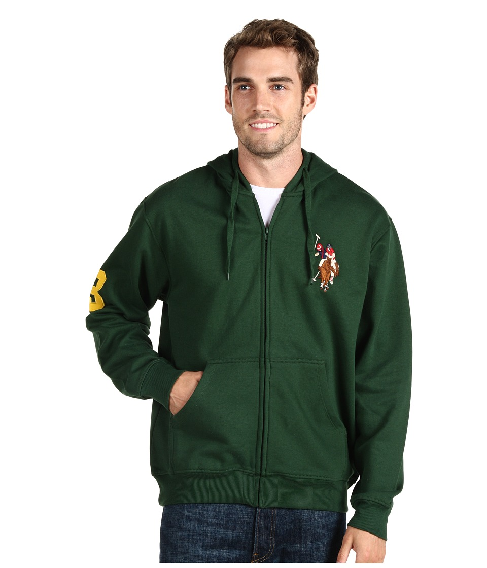 U.S. POLO ASSN. - Full Zip Hoodie W/ Multi Color Pony (Winter Pine) Men's Fleece