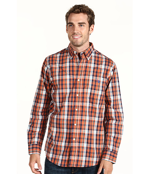 U.S. POLO ASSN. - Y/D Plaid Woven Shirt (Autumn Sunset/Classic Navy) Men's Long Sleeve Button Up