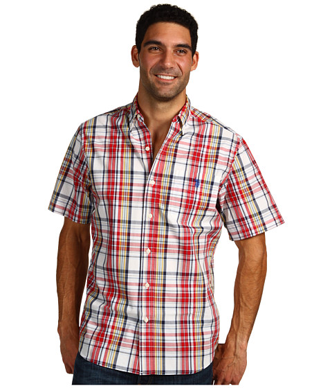 U.S. POLO ASSN. - Slim Fit S/S Poplin Shirt (Red) Men's Short Sleeve Button Up