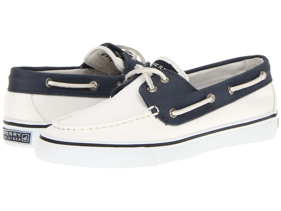 Sperry Top-Sider - Bahama 2-Eye (White/Navy 2) Women's Slip on Shoes