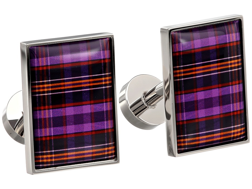 w rkin stiffs - Cufflinks, Rectangle, Purple and Orange Plaid (Poppy) Cuff Links