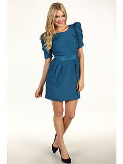 SALE! $41.3 - Save $77 on BCBGeneration Shirred Sleeve Open Back Dress (Blue Jade) Apparel - 65.00% OFF $118.00