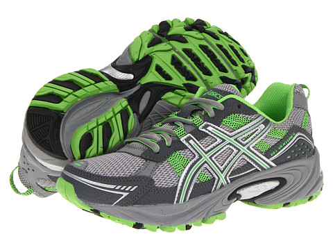 asics womens gel-venture 4 running shoe charcoal/frost/green
