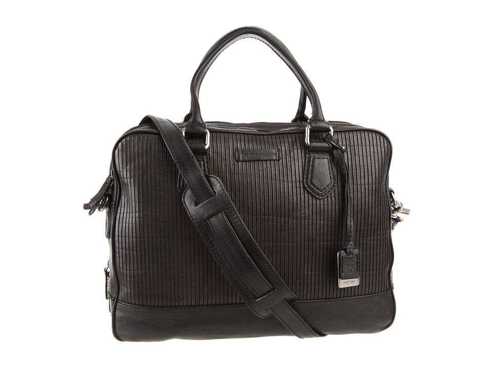 Frye - James Work Zip (Black Veg Cut Leather) Top-Zip Handbags
