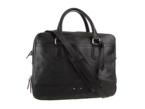 Frye - James Work Zip (Black Tumbled Full Grain) Top-Zip Handbags
