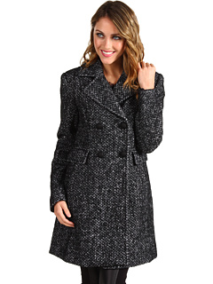 SALE! $99.99 - Save $220 on Ivanka Trump Double Breasted Notch Lapel Wool Coat (Black White) Apparel - 68.75% OFF $320.00
