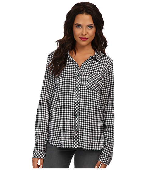 C&C California - Brushed Mini Check Woven Top (White) Women's Long Sleeve Button Up