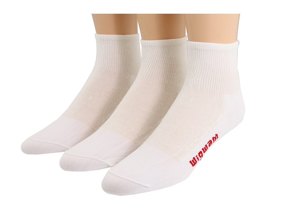 Wigwam - IronMan Triathlete Pro Quarter 3-Pair Pack (White) Quarter Length Socks Shoes
