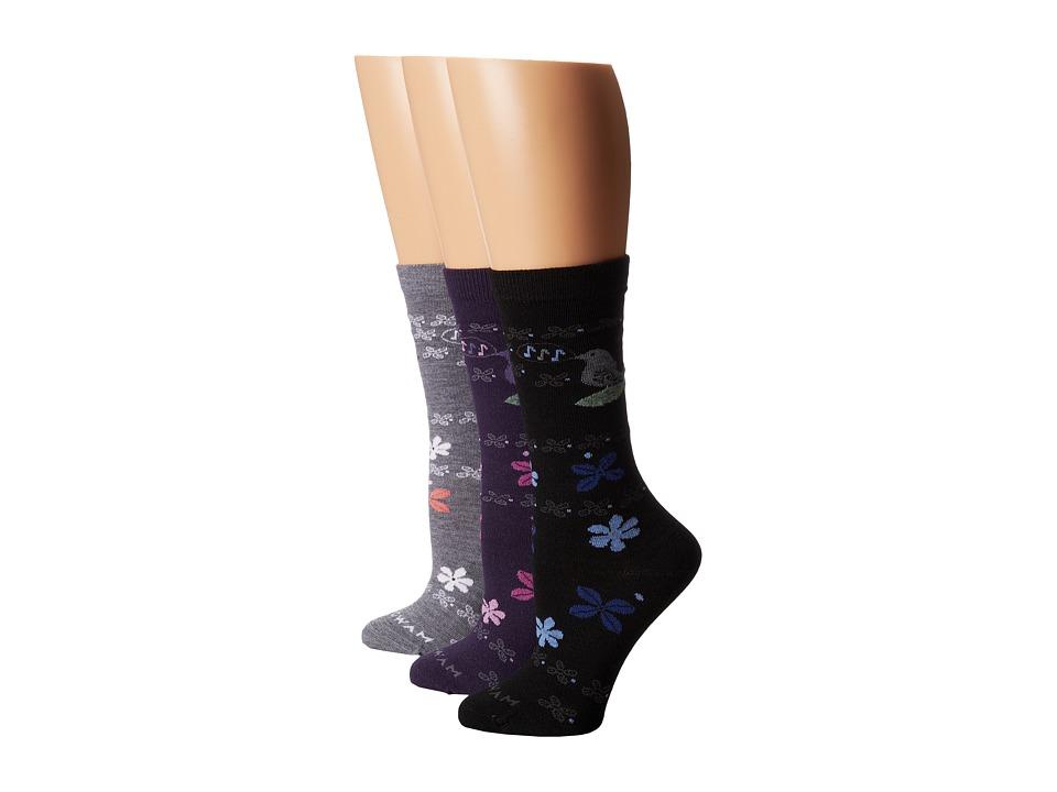 Wigwam - Tweet 3-Pair Pack (Charcoal/PurpleVelvet/Pewter) Crew Cut Socks Shoes