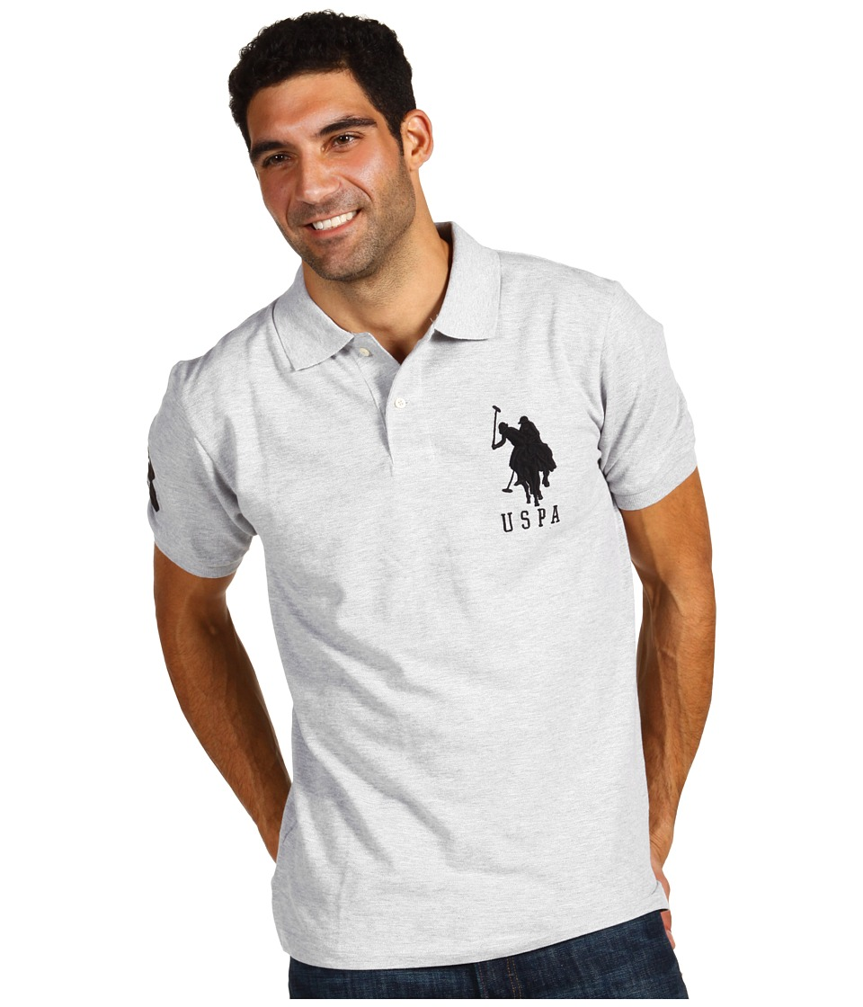 U.S. POLO ASSN. - Solid Polo with Big Pony (Light Grey/Black) Men's Short Sleeve Pullover