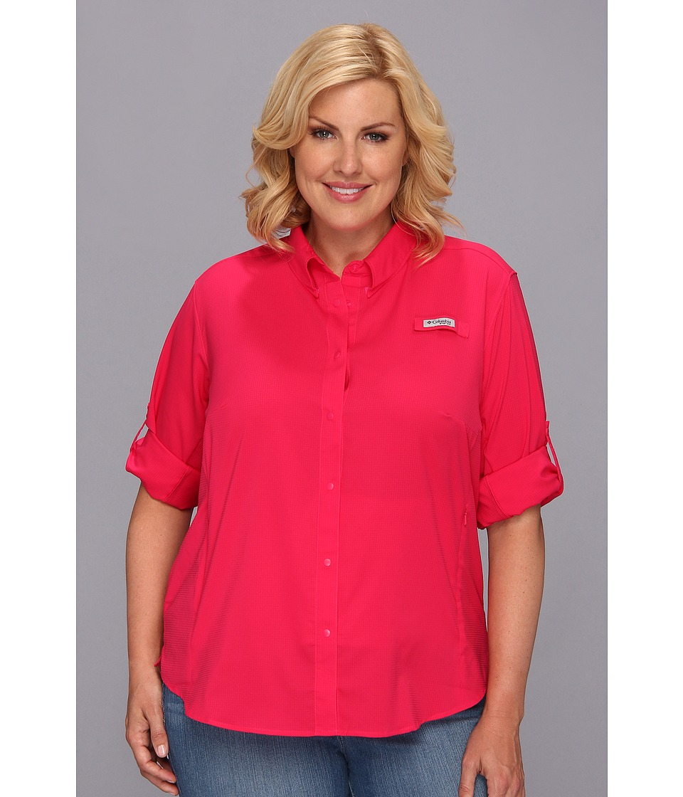 Columbia - Plus Size Tamiami II L/S Shirt (Bright Rose) Women's Long Sleeve Button Up