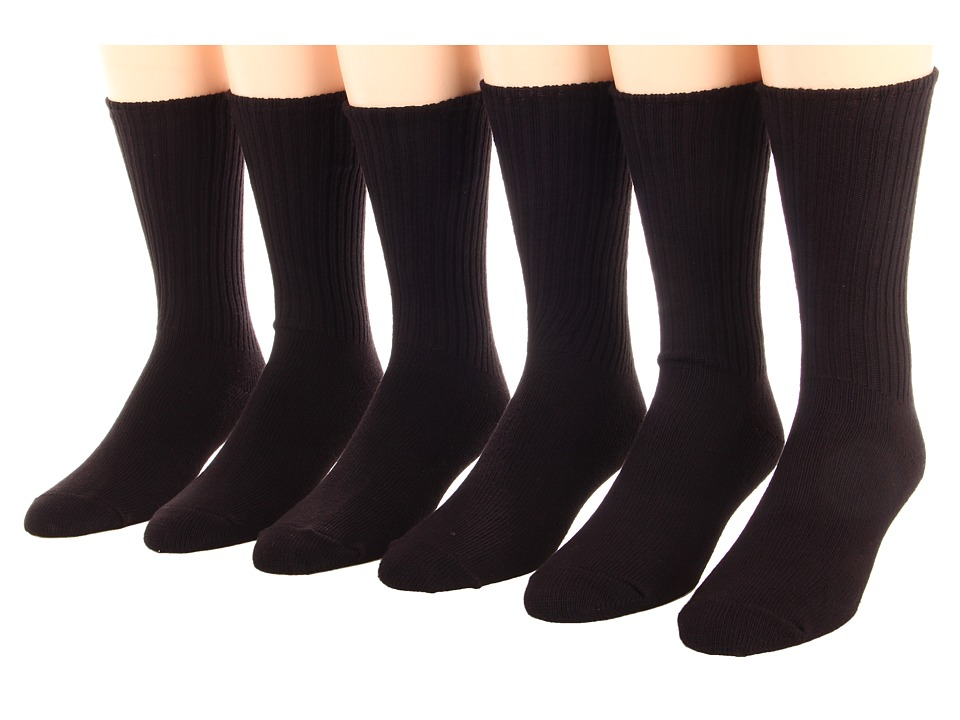 Jefferies Socks - Cotton Casual Crew Six Pack (Adult) (Black 6) Kids Shoes