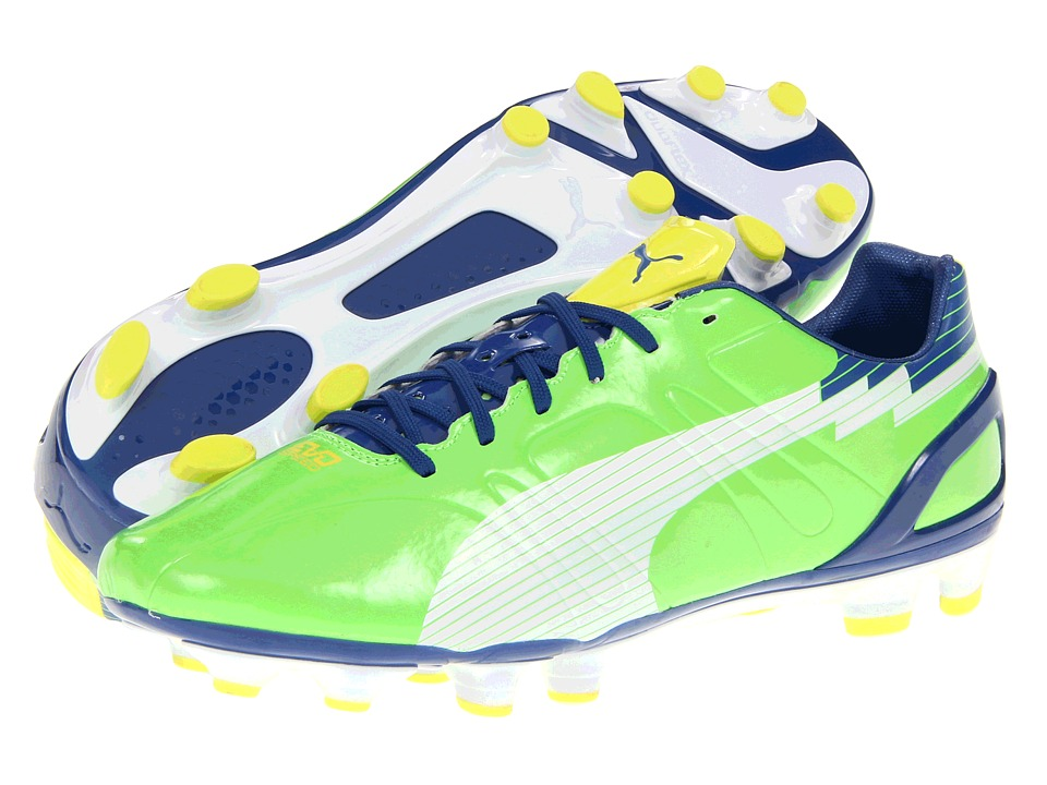 PUMA - evoSPEED 3FG (Jasmine Green/White/Monaco Blue) Men's Cleated Shoes