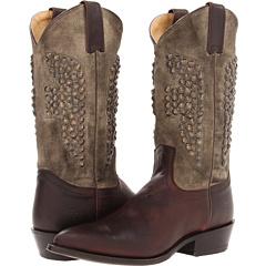 Frye Billy Hammered Stud (Dark Brown Canvas Soft Vintage Leather) Footwear