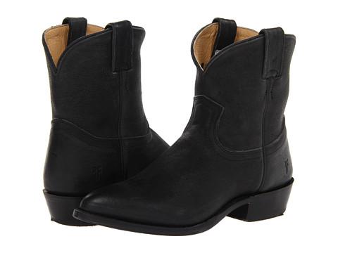 Frye - Billy Short (Black Distressed Nubuck) Cowboy Boots