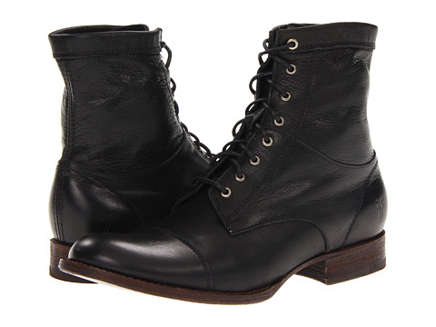 Frye - Erin Workboot (Black Soft Vintage Leather) Women's Lace-up Boots