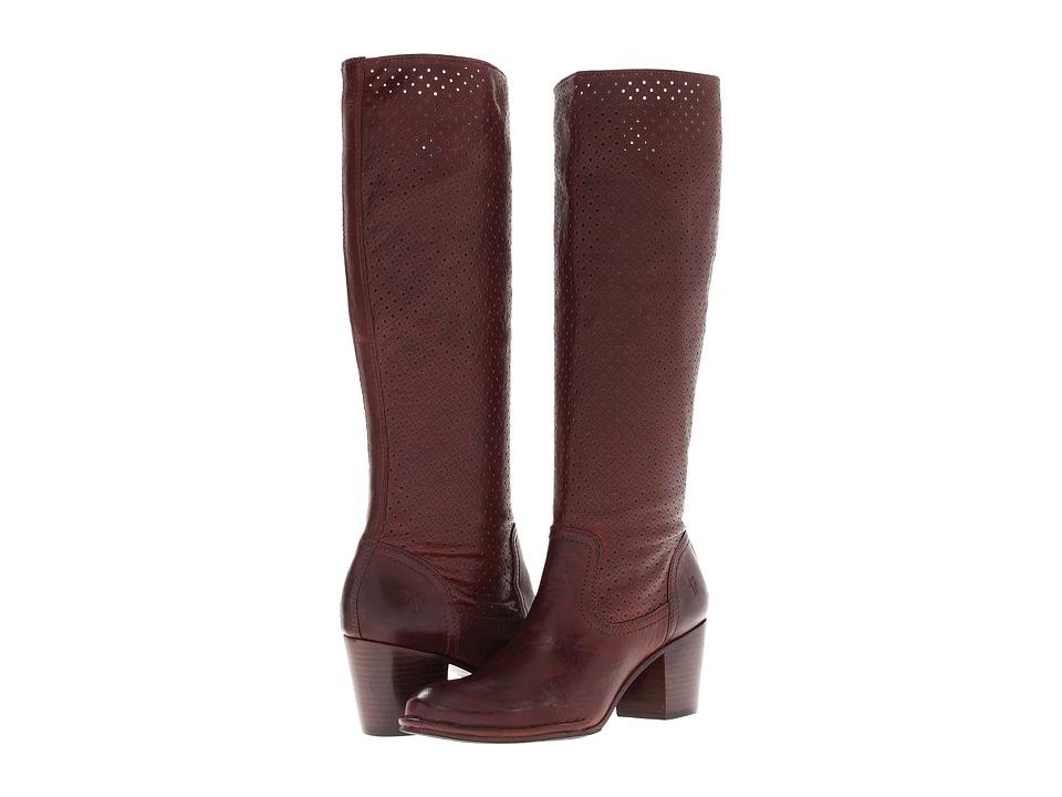 Frye - Lucinda Perf Slouch (Dark Brown Vintage Veg Tan) Cowboy Boots