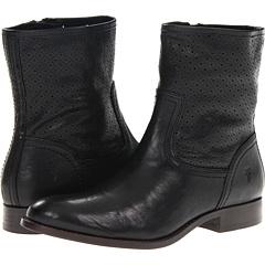 Frye Melissa Perf Bootie (Black Vintage Veg Tan) Footwear