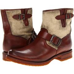 Frye Veronica Canvas Shortie (Cognac Canvas Soft Vintage Leather) Footwear