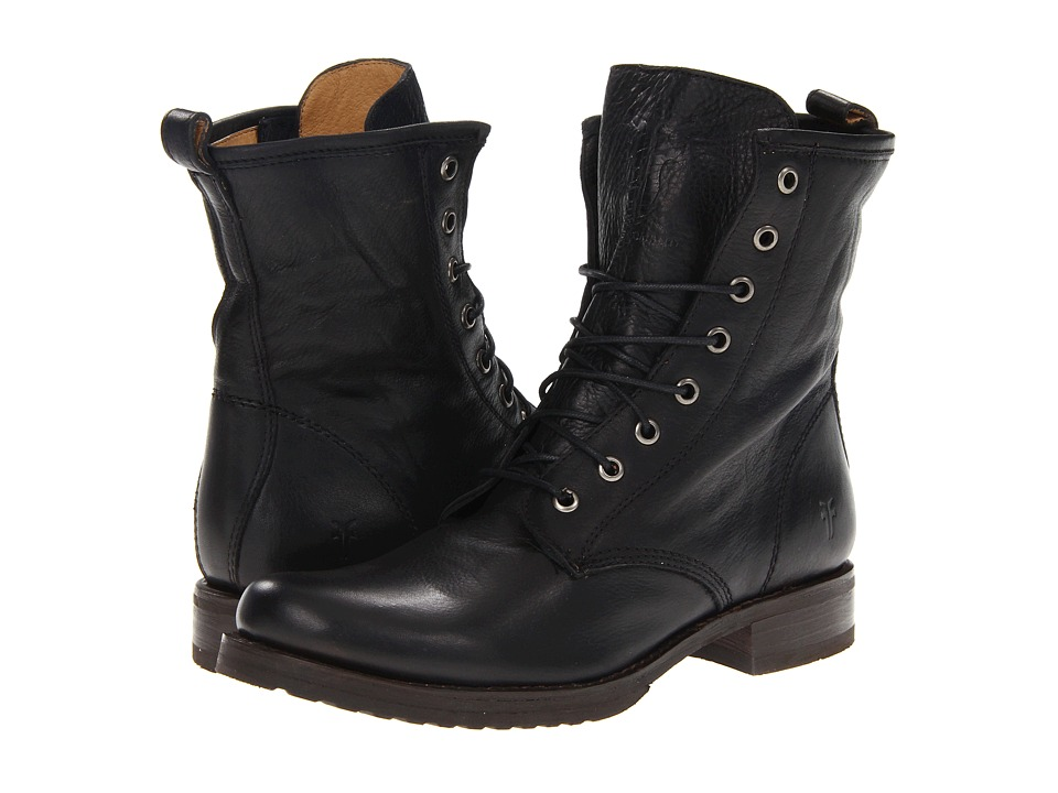 Frye - Veronica Combat (Black Soft Vintage Leather) Women's Lace-up Boots