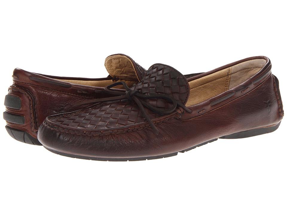 Frye - West Woven Driver (Dark Brown Soft Vintage Leather) Men's Slip on Shoes