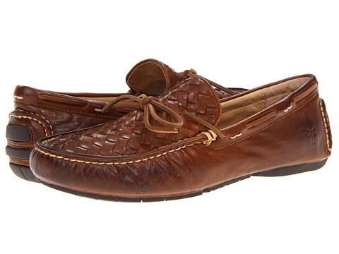 Frye - West Woven Driver (Cognac Soft Vintage Leather) Men