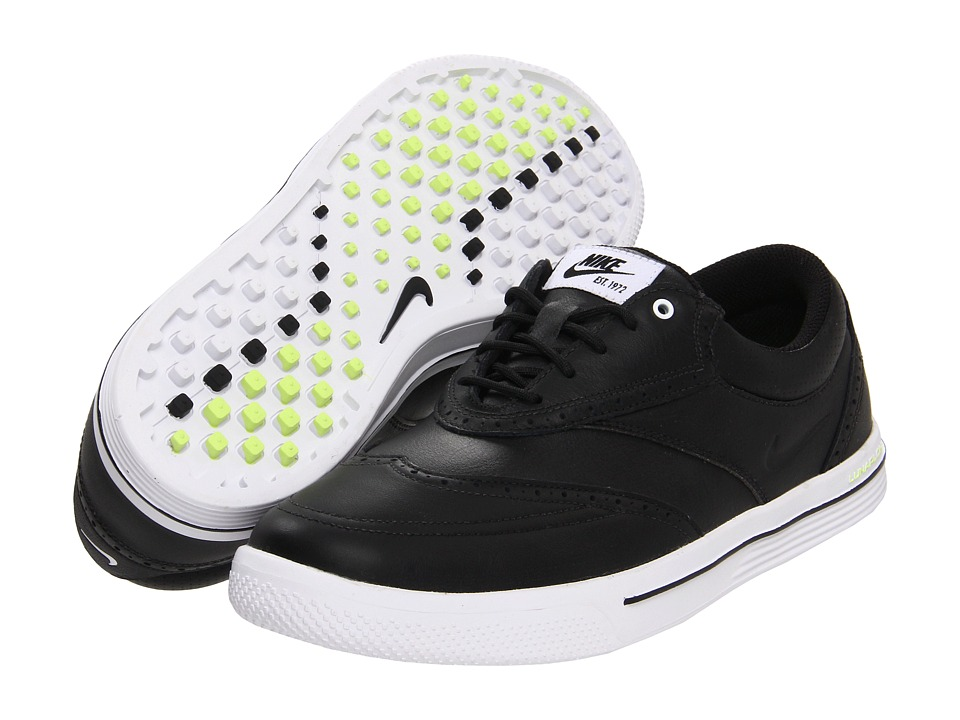 Nike - Lunar Swingtip - Leather (Black/Black/White/Volt) Men's Golf Shoes